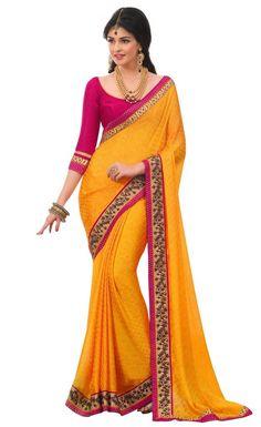 Mustard Colour Satin Chiffon Designer Party Wear Saree Buy Apparel
