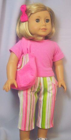 Striped Capri Pants T Shirt and Purse by buttonandbowboutique, $20.00