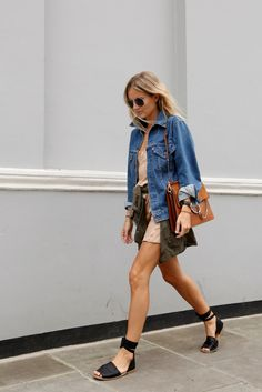 Slip dress with espadrilles, denim jacket, Chloe bag, and an army green shirt tied around the waist.