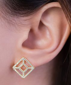 Boasting radiant cubic zirconia accents atop a ravishing sterling silver finish, this pair is a must-have for shimmer-loving ladies.  #QueensJewelry #DropDangle #square #earrings #stud #sterling silver #gold #plated