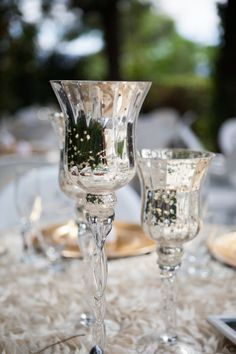 Mercury glass is an easy way to dress any wedding up in glam! {Carri Roman Photography}