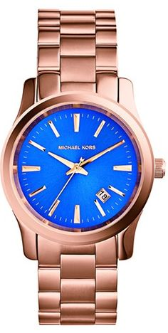 Michael Kors Rose Gold & Cobalt Blue Watch http://rstyle.me/n/eqxspnyg6