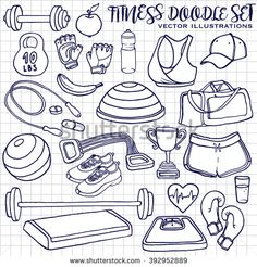 Hand drawn fitness doodle set on squared notepad page, vector illustration. Hand drawn doodle style  drawing of sport clothes, dumbbell, fitball, gloves, scales, step, cup, bosu