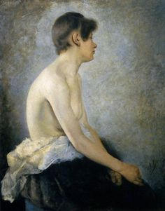 """""""Half Nude"""" - Anton Azbe (Slovene, 1862–1905), oil on canvas, 1888 {figurative art female seated woman profile painting #arthistory #nineteenthcentury}"""