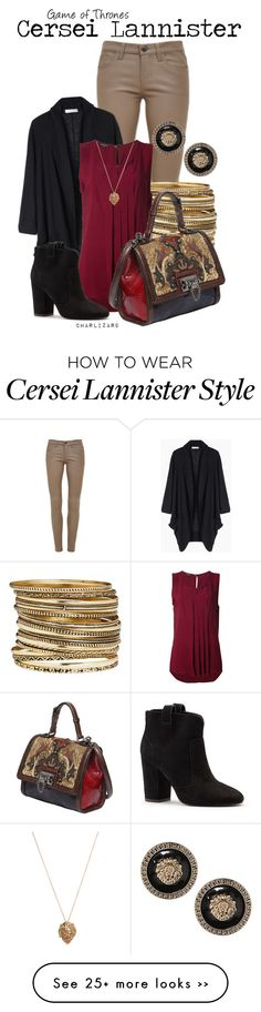 """Would totally wear this """"Cersei Lannister"""" top, cardigan, and pants"""