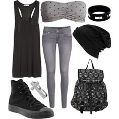 """Grey and black"" by firforlife on Polyvore"