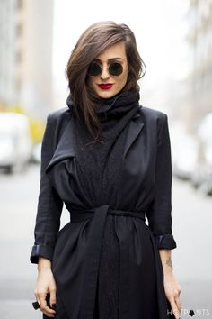 Women's Charcoal Shawl, Black Coat, Black Sunglasses