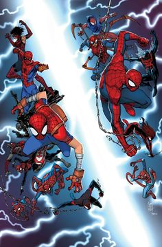 SPIDER-VERSE #1 (of 2) DAN SLOTT, SKOTTIE YOUNG, ROBBIE THOMPSON & KATIE COOK (W) HUMBERTO RAMOS, JAKE PARKER, DENNIS MEDRI & KATIE COOK (A) Cover by GIUSEPPE CAMUNCOLI