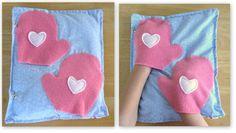 Mittens: Fleece mittens, left open on the bottom, for little hands to slide inside