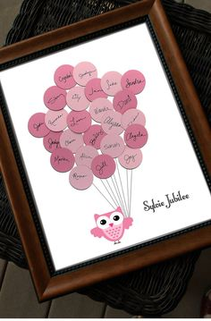 Looking for an owl themed guest book for a baby shower? Make your baby shower interesting and fun! Your guests sign a balloon at the baby shower, then attach them to complete this cute artwork! Baby Shower Unique, Idee Baby Shower, Owl Shower, Shower Bebe, Baby Shower Games, Baby Shower Parties, Shower Ideas, Baby Shower Owls, Baby Showers