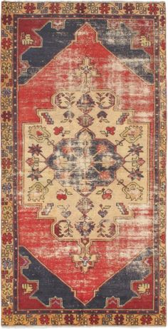 """Hand-knotted Turkish Carpet 4'2"""" x 8'4"""" Ottoman Vintage Traditional Red Wool Rug"""