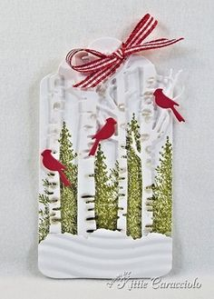 Birch Trees and Cardinal Tag - KittieKraft