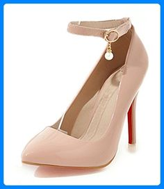 Aisun Damen Elegant Lackleder Pointed Toe Pumps Mit Knöchelriemchen Aprikosenfarben 37 EU - Damen pumps (*Partner-Link)
