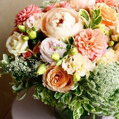 Peach perfection for your enjoyment! Learn more about our local floral delivery here! xo - Another! Good Shabbos, Peonies, Dahlias, Flower Delivery, Summer Flowers, Floral Arrangements, Favorite Color, Salmon, This Is Us