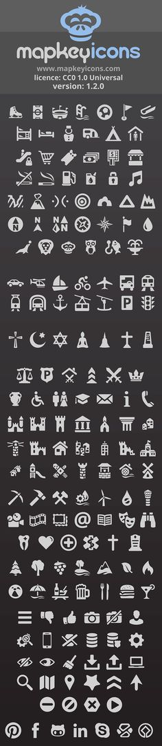 Free map symbols for personal & commercial use! Visit mapkeyicons.com and download PNG or SVG files, CSS toolkit with fonts. Use these pictograms anywhere.