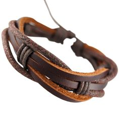 Mens Dark Brown Real Leather Wristband Bracelet with Brown Red Leather Cords. Mens Dark Brown Real Leather Wristband Bracelet with Brown Red Leather Cords. | streeze.com