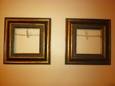 Thrifted frames, stapled twine and a clothes pin. I can change the pics whenever I want!