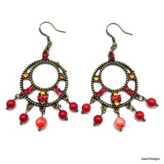 A personal favorite from my Etsy shop https://www.etsy.com/listing/248402667/antique-brass-red-chandelier-earrings