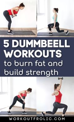 Give any of these 5 dumbbell workouts a try! If you're a short on time, these home workouts are for you! Short and effective at-home dumbbell workouts for women! Dumbbell Workout At Home, Dumbbell Exercises, Daily Home Workout, Daily Workouts, Workout Guide, Workout Routines, Fitness Goals, Fitness Tips, Functional Workouts