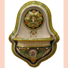 Outdoor Ceramic Wall Fountains Hand painted buy Online   Leoncini Italy Hand Painted Pottery, Pottery Painting, Hand Painted Ceramics, Ceramic Painting, Ceramic Pottery, Outdoor Wall Fountains, Outdoor Walls, Italian Pottery, How To Make Paint