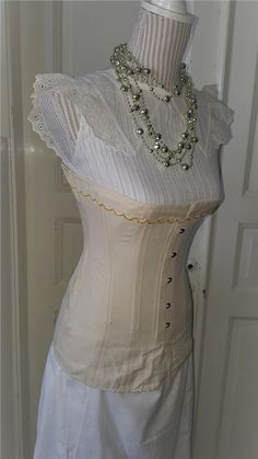 """Annons på Tradera: Antique Beige """"Selfridge"""" Edwardian Corset made early 1900 Not used From stock60"""