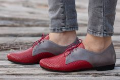 Red Leather Shoes Red Oxford Shoes Close Shoes Flat by BangiShop, $105.00