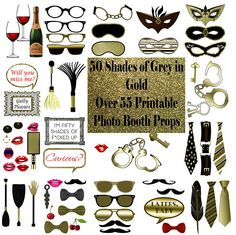These 50 Shades of Grey themed gold Photo Booth Props are a great addition to a bachelorette party or adult photo shoot. The glitter photo booth prop set is a printable instant download of over 55 photo props. As a party favor and a game these erotic bdsm inspired photo booth props