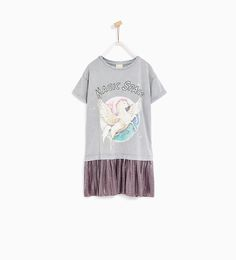 Image 1 of CONTRAST DRESS WITH UNICORN from Zara