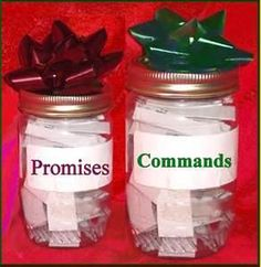 Great idea; to avoid getting the strips of paper mixed up, I might use red ink on the strips in the Promises jar and green ink on the strips in the Commands jar