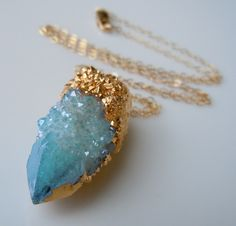 SPIRIT QUARTZ Necklace Aqua Aura Druzy