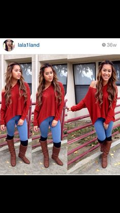 Red sweater, blue jeans, riding boots