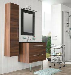 Los muebles de baño de la serie Creta son los más versátiles del catálogo de Salgar no sólo por su amplia gama de colores y texturas: blanco, negro, gris antracita y acacia marrón, sino también por sus diferentes medidas en un fondo de 45 cm.