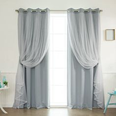 Loving This Gray Dotted Tulle Lace Blackout Curtain Panel