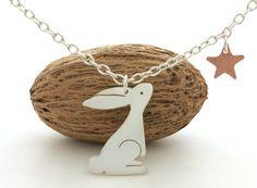 Sterling Silver Bunny Pendant via Etsy.