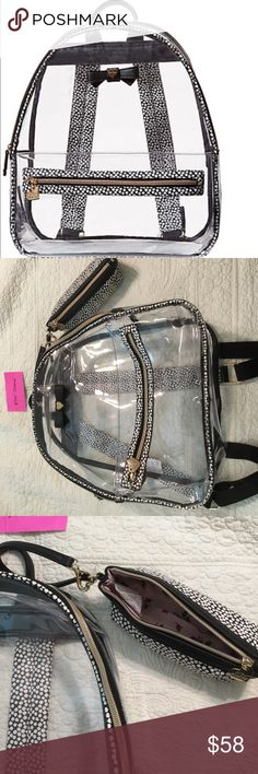 NWT Betsey Johnson Clear Back Pack w/Pencil Case NWT Super Cute Betsey Johnson Back Pack With Pencil Case. See all pictures for measurements. Betsey Johnson Accessories