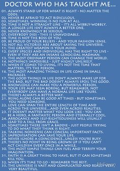 What the Doctor taught me  It the Whovian version of Gibbs rules