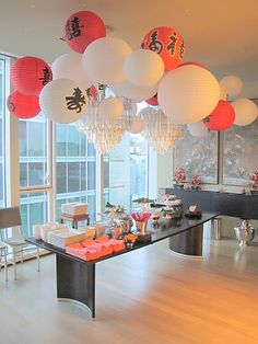 Chinese New Year Party. Our party is never this decorated but its still a good time! Asian Party Decorations, Asian Party Themes, Chinese New Year Decorations, New Years Decorations, Party Ideas, Chinese Theme Parties, Chinese New Year Party, New Years Eve Party, Chinese Birthday