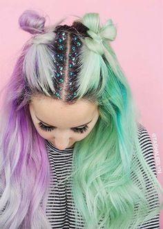 Glitter Hairstyles Ideas: Dual Bun Glitter Pastel Hair