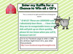 enter my raffle for your chance to win all 3 CD's and other prizes