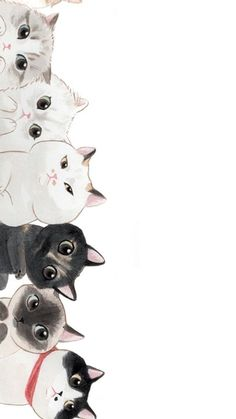 Trendy Wall Paper Cat Kawaii Phone Wallpapers Source by videos wallpaper cat cat memes cat videos cat memes cat quotes cats cats pictures cats videos Wallpaper Gatos, Cat Wallpaper, Cat Pattern Wallpaper, Unique Wallpaper, Painting Wallpaper, Cartoon Wallpaper, Mobile Wallpaper, Art And Illustration, Cat Illustrations