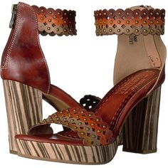 Spring Step Anna (Brown) Women's Shoes ($100) ❤ liked on Polyvore featuring shoes, sandals, high heeled footwear, leather shoes, brown leather sandals, platform sandals and spring step sandals
