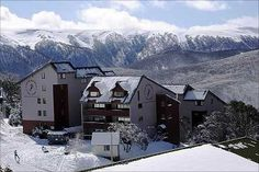 Snow Ski Falls Creek. Victorian Alps, Victoria. Australia. Falls Creek ski Resort boasts spectacular vistas of the snowfields up the mountain and across the valley to Spion Kopje and majestic Mt Bogong, Victoria's highest mountain. #Australia.
