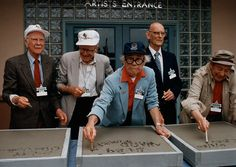 The opening of Disney-MGM Studios on May 1, 1989 was attended by (l. to r.) Ollie Johnston, Frank Thomas, Ward Kimball, Ken O'Connor, and Marc Davis.