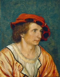 Hans Holbein the Younger - Portrait of a Young Man, 1520 - oil on panel, 22 x 17 cm, National Gallery of Art, Washington Renaissance Portraits, Renaissance Paintings, Hans Holbein Le Jeune, Hans Thoma, Hans Holbein The Younger, Landsknecht, Renaissance Men, Renaissance Costume, National Gallery Of Art