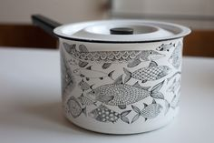 """Neptun"" enamel pot with fish motif by Esteri Tomula for Fine. I keep it between my enamelware collection and my favorite fish art! Gothic Architecture, Fish Art, Organic Shapes, Ceramic Painting, Mid Century Design, Vintage Kitchen, A Table, Enamel, House Design"
