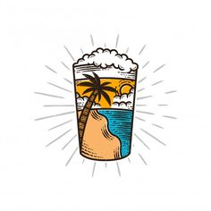 Beach Cartoon, Posca, Beer Pictures, Beer Art, Desenho Tattoo, Vintage Lettering, Summer Vibes, Pop Art, Illustration Art