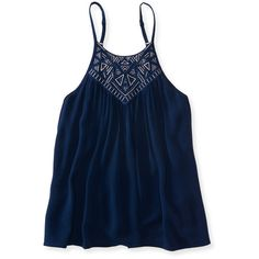 Aeropostale Embroidered High-Neck Swingy Tank ($16) ❤ liked on Polyvore featuring tops, classic navy, navy tank top, navy blue top, high neck tank, navy tank and blue tank top