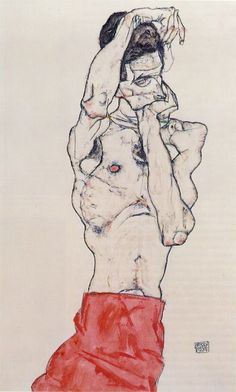 Egon Schiele- Standing Male Nude with Red Loincloth, 1914