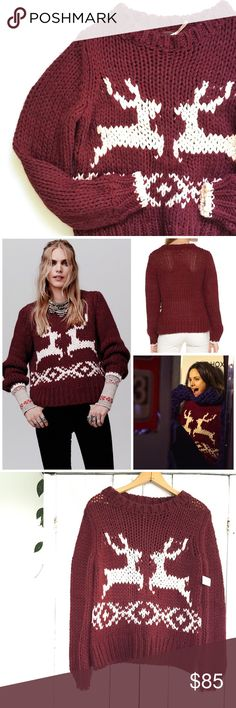 """🆕Listing! Free People Dancer and Prancer sweater New with tags! Free People Dancer and Prancer reindeer sweater. It's never to early to be thinking about the holidays! This cozy warm sweater is great for the chilly days ahead! Size small, 19"""" bust, 21"""" long. Loose knit design. Free People Sweaters Crew & Scoop Necks"""