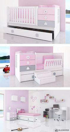 Cunas convertibles Zero Maths de colores para niñas. Etapa baby, kid & Junior. ¡Descubre el lugar donde ocurren las cosas más maravillosas de la vida! Convertible Crib for babies. Design baby furniture